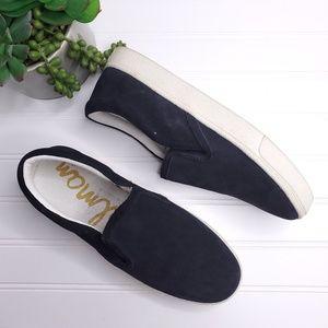 Sam Edalman Marvin Black Suede Slip-on Shoes 8